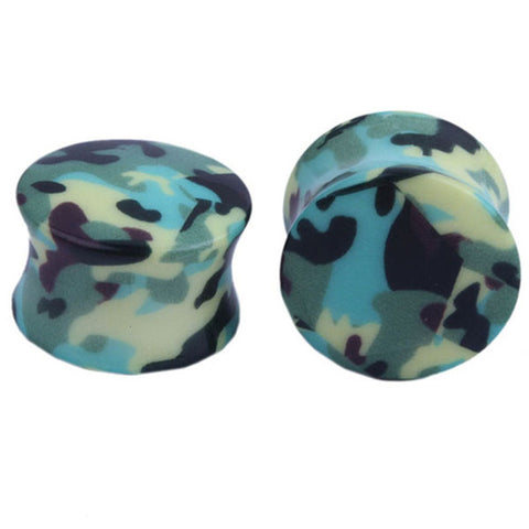 military camouflaged acrylic ear plugs earrings