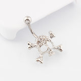surgical steel bar crystal skull belly button ring
