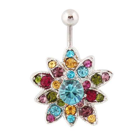 crystal flower piercing navel belly button ring