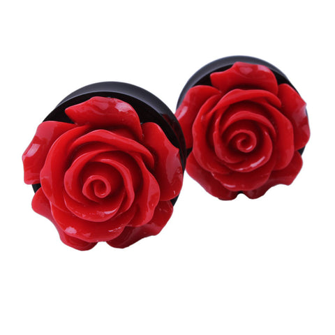 acrylic red rose ear plugs tunnels earrings