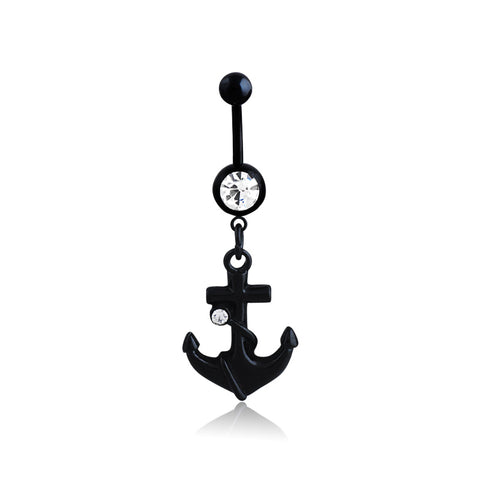 anchor shape dangle piercing belly button ring