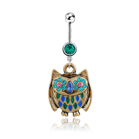 surgical steel cute owl belly button ring