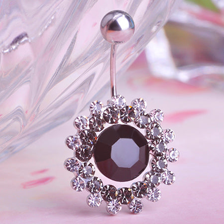 rhinestone crystal flower navel piercing belly button ring