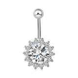 medical steel crystal sunflower navel belly button ring