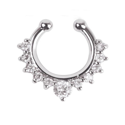 silver color crystal no piercing nose ring