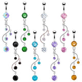 zircon navel crystal dangle piercing belly button ring
