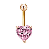 silver/gold rhinestone heart navel belly button ring