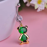 lovely crystal bear dangle piercing belly button ring