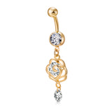 stainless steel rhinestone golden flower belly button ring