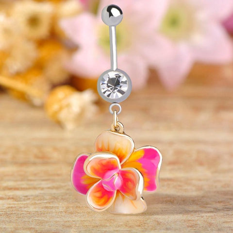 epoxy flower piercing navel medical steel belly button ring