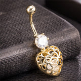 gold color piercing bar hollow heart belly button ring