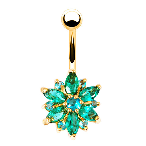 body piercing flower shaped rhinestone navel belly button ring