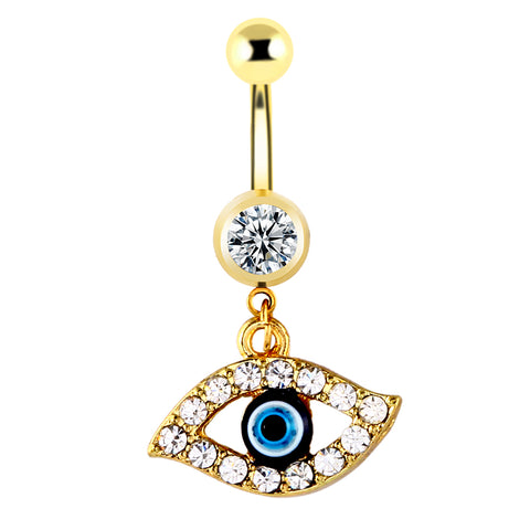 golden hamsa hand evil eye navel clear CZ belly button ring