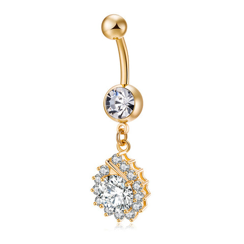 surgical steel piercing dangle golden sun belly button ring