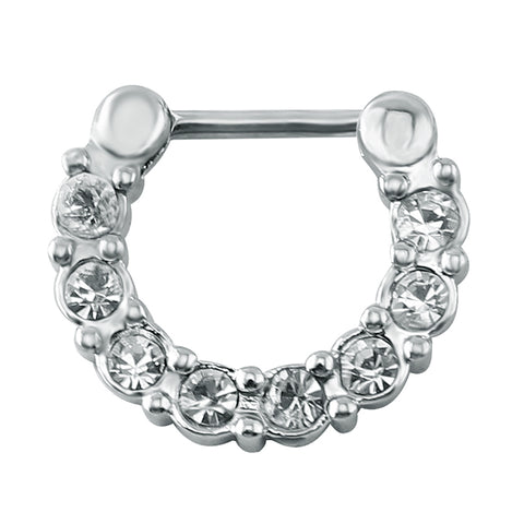 indian real septum multi rhinestone nose ring hoop