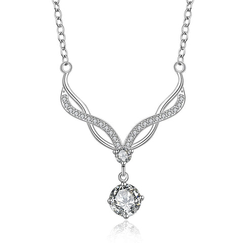 sterling silver white crystal stone necklace & pendant