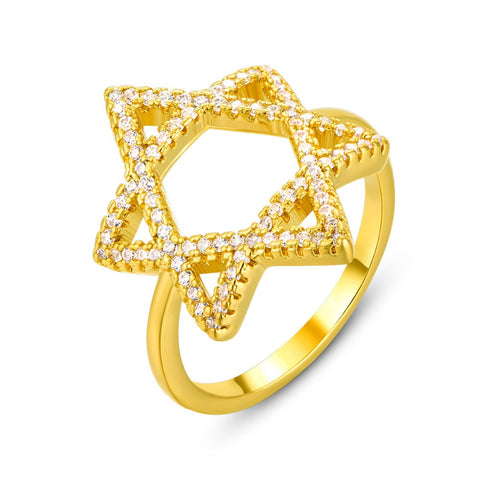 gold color star of david cz stone ring