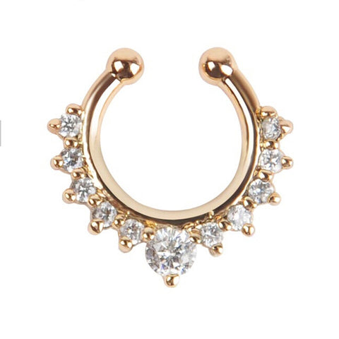 gold color crystal nose ring non piercing hanger Clip