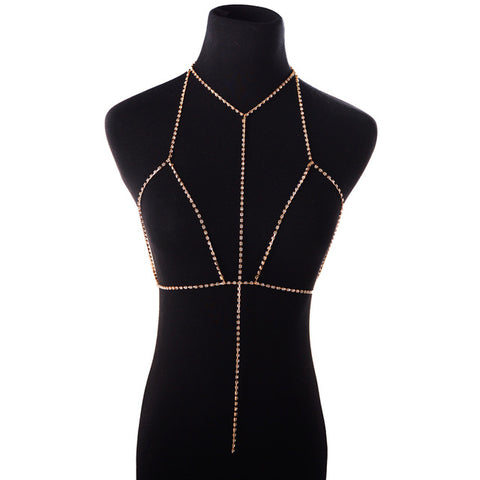 sexy crystal chain bra slave harness body necklace for women