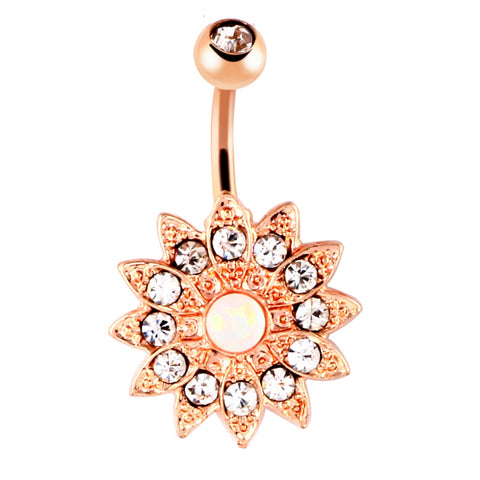 stainless steel opal flower belly button ring for women