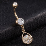 medical stainless steel crystal stones belly button ring for women