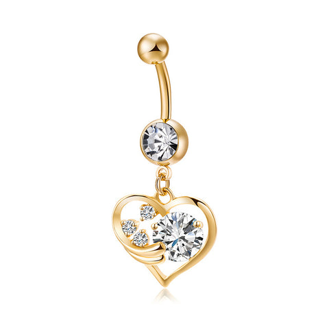 gold color surgical metal piercing cz heart belly button ring