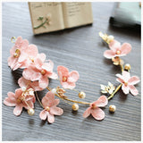 romantic pink flower vine hair band tiara for women