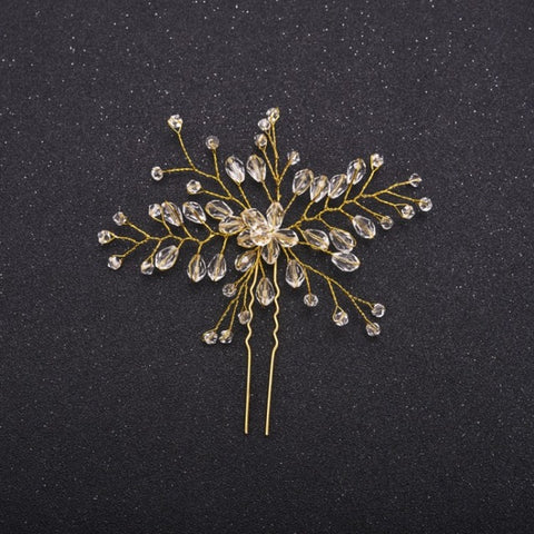 handmade crystal flower wedding hair pin for women