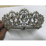 Silver tone rhinestone crystal tiara crown bride hair jewelry