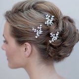elegant crystal imitated pearl flower hair pin for women