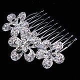 silver plated crystal flower hair comb for women