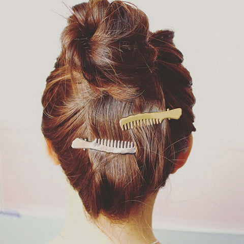 gold/silver color hair comb shaped hair clip for women