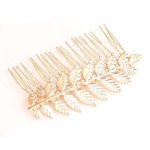 simple  gold/silver color leaf barrette jewelry