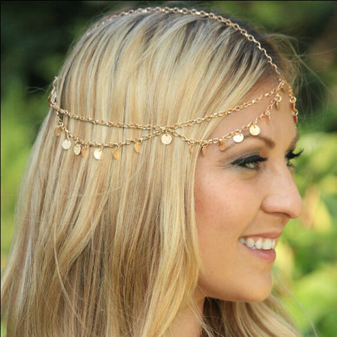 multilayer golden head chain hair jewelry