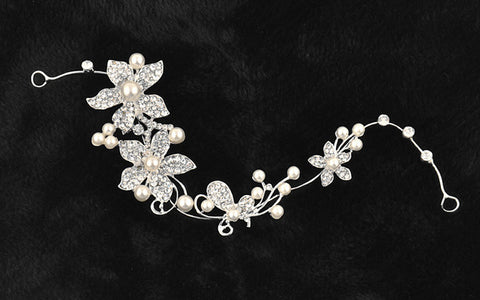 silver color rhinestone pearl flower bridal hair jewelry