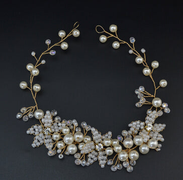 handmade pearl floral gold headband bridal hair jewelry