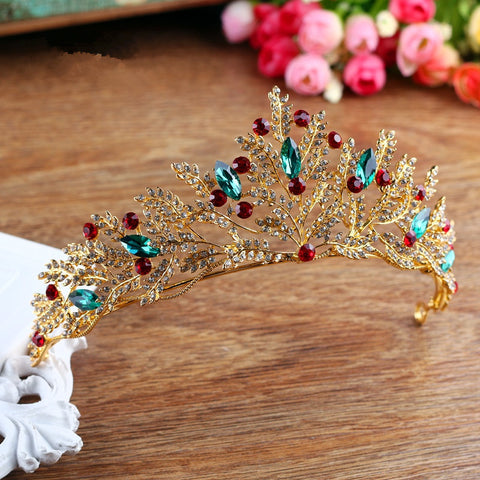gold color beads crystal tiara crown bride hair jewelry