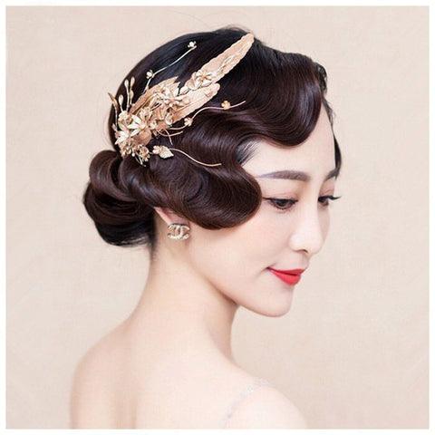baroque golden crystal & pearl feather headband hair jewelry