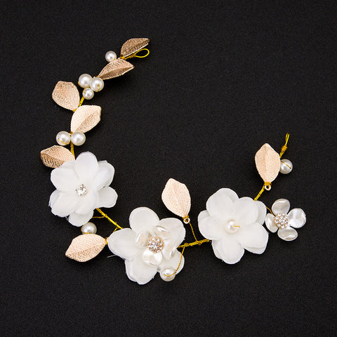 golden leaf pearl & flowers tiara bridal hair jewelry