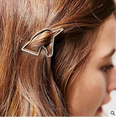 trendy stainless steel hollow unicorn hair pin for women