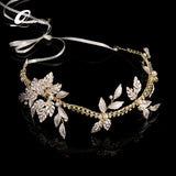 elegant gold color leaf & pearl hair band tiara for women