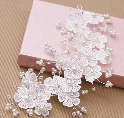 romantic pearls & flowers lace hair band for women