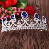 vintage blue rhinestone tiara crown bridal hair jewelry