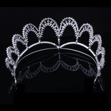 silver color crystal bridal tiara crown hair jewelry