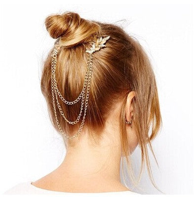 rhinestone wing hair chain clip for women