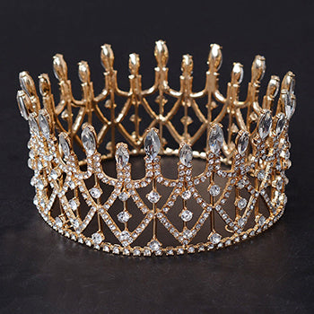 large round sparkling crystal crown tiara women hair jewelry