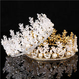 sparkling clear wedding crystals & pearls tiara hair jewelry