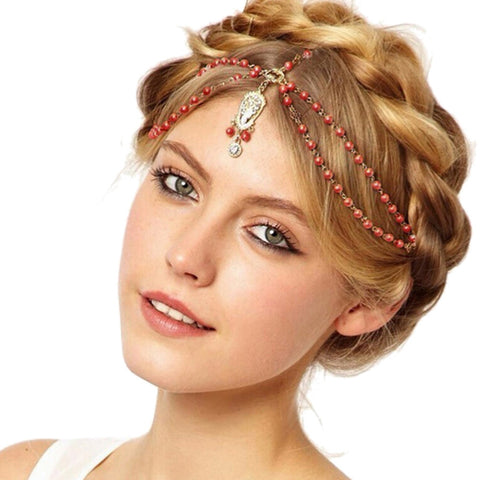 boho style beaded hair band with a tassel for women