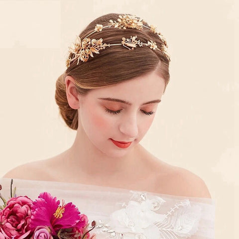 golden baroque bridal hair band tiara crown hair jewelry