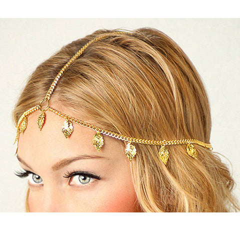 bohemia style leaves shape head chain hair jewelry